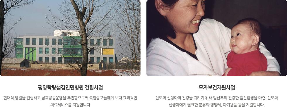 평양락랑섬김인민병원 건립사업,모자보건지원사업